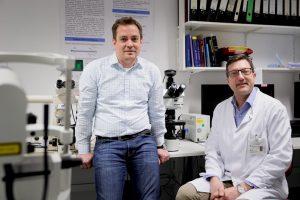Andreas Unger und Matthias Vorgerd (rechts) erforschen gemeinsam die Ursachen der muskulären BICD2-Krankheit. © RUB, Schirdewahn