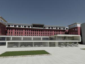 Auf dem Dach des Bettenhauses des Bergmannsheil Buer wird eine Komfortstation errichtet. (Außenansicht)
