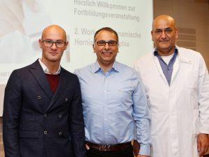 Das Team der Allgemein- und Viszeralchirurgie des St. Anna Hospital Herne, Chefarzt Dr. Nurettin Albayrak (m.) sowie die Oberärzte Dr. Martin Jazra (l.) und Dhia Hashim (r.), informierten über dynamische Herniensonographie.